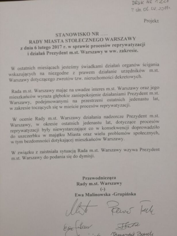 Stanowisko PiS tvnwarszawa.pl