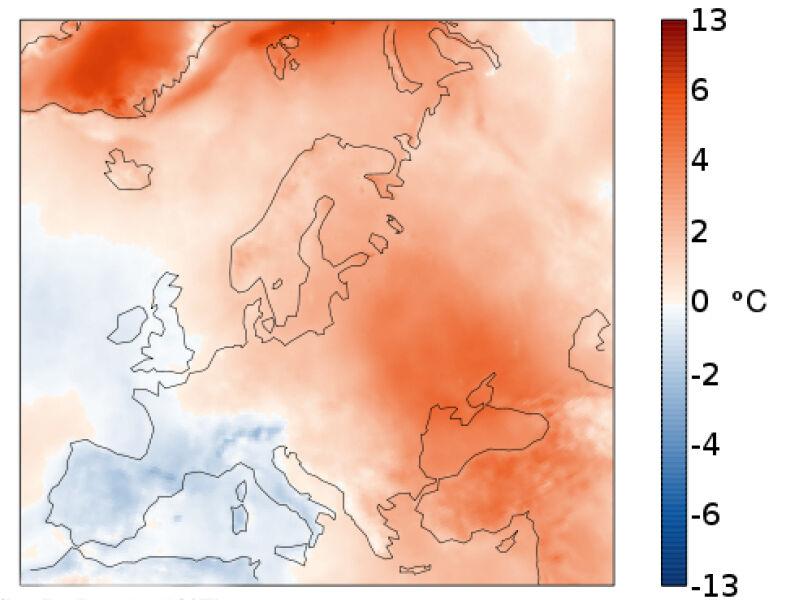 Październikowe anomalie temperatury w Europie wobec średniej wieloletniej dla tego miesiąca (Copernicus Climate Change Service/ECMWF)