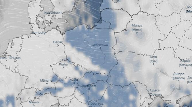 Zachmurzenie prognozowane na 10.02 w Polsce (ventusky.com)
