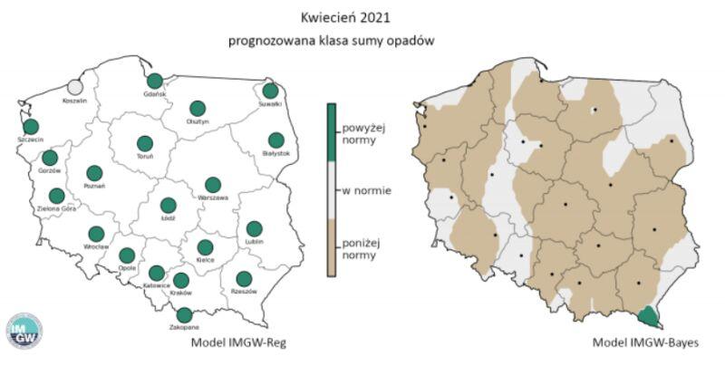 Prognozowana klasa miesięcznej sumy opadów w kwietniu 2021 r. według modelu IMGW-Reg i IMGW-Bayes (źródło: IMGW)