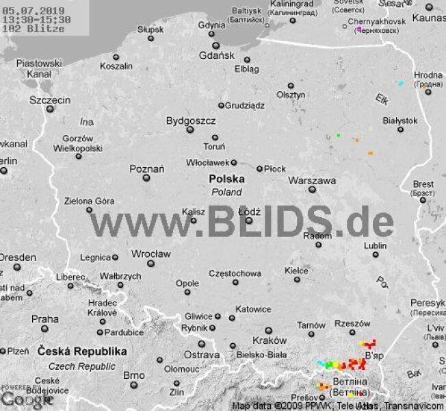 Ścieżka burz w godzinach 13.30-15.30 (blids.de)